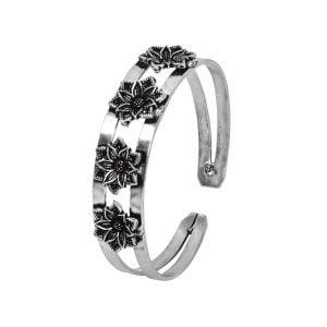 Oxidised Silver Bloom Kada Bangle- Adjustable Main Image