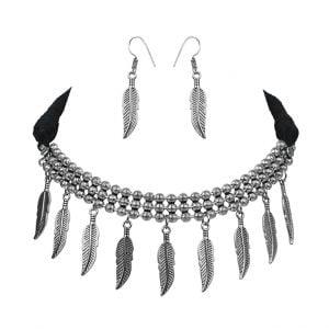 Oxidised Silver Boho Dangling Leaf Choker Necklace Earrings Set Main Image