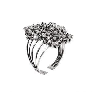 Oxidised Silver Clustered Ghungroo Cuff Bangle – Adjustable Main Image