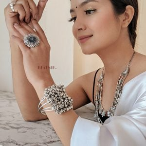 Oxidised Silver Clustered Ghungroo Cuff Bangle – Adjustable Lifestyle Image