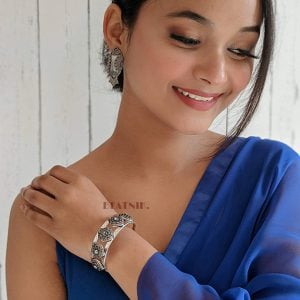 Oxidised Silver Cuff Kada Bangle – Adjustable Lifestyle Image