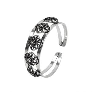 Oxidised Silver Cuff Kada Bangle – Adjustable Main Image
