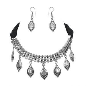 Oxidised Silver Dangling Motif Choker Necklace Earrings Set Main Image