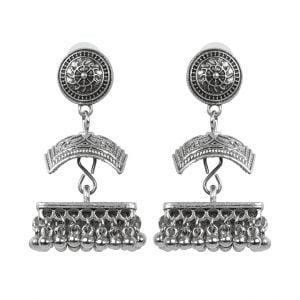 Oxidised Silver Ethnic Jhumki Earrings Main Image