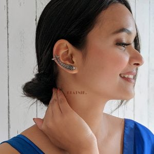 Oxidised Silver Fish Motif Ear Clip-on Cuff Earrings Lifestyle Image