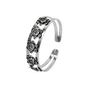 Oxidised Silver Floral Motif Kada Bangle – Adjustable Main Image