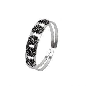 Oxidised Silver Flower Motif Kada Bangle – Adjustable Main Image