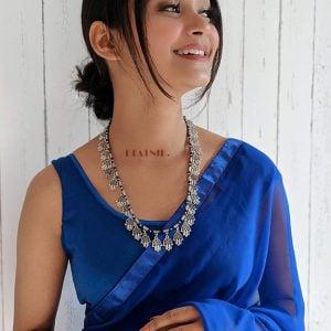 Oxidised Silver Hamsa Hand Motif Necklace Lifestyle Image
