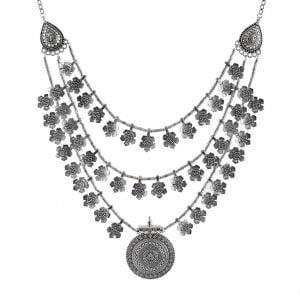 Oxidised Silver Layered Flower Motif Long Necklace Main Image