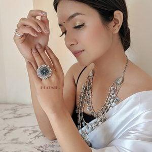 Oxidised Silver Lotus Enameled Ring – Adjustable Lifestyle Image
