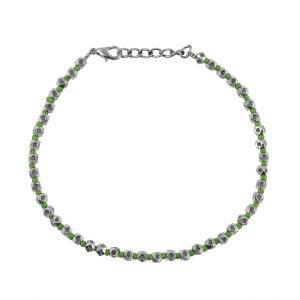 Oxidised Silver Mint Green Beads Bracelet Main Image