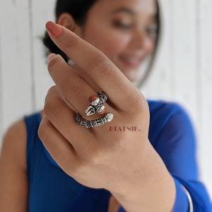 Oxidised Silver Moksha Rudra Ring – Adjustable Lifestyle Image