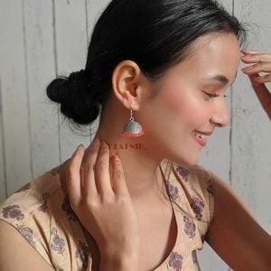 Oxidised Silver Orange Beads Jhumki Earrings Lifestyle Image
