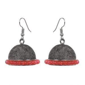 Oxidised Silver Orange Beads Jhumki Earrings Main Image