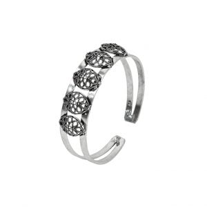 Oxidised Silver Patterned Kada Bangle – Adjustable Main Image