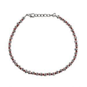Oxidised Silver Red Beads Bracelet Main Image