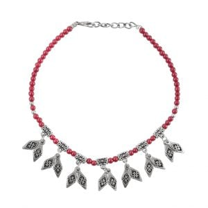 Oxidised Silver Red Beads Charms Bracelet Main Image