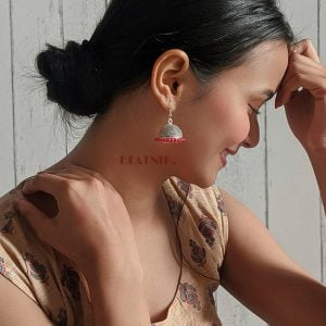Oxidised Silver Red Beads Jhumki Earrings Lifestyle Image