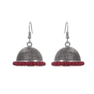 Oxidised Silver Red Beads Jhumki Earrings Main Image