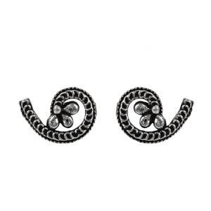 Oxidised Silver Small Stud Earrings – Twisted Main Image