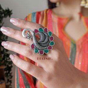 Oxidised Silver Statement Peacock Motif Studded Ring – Adjustable