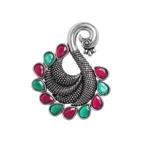 Oxidised Silver Statement Peacock Motif Studded Ring – Adjustable Main Image