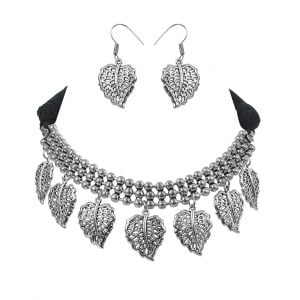 Oxidised Silver Stylish Choker Necklace Earrings Set Main Image