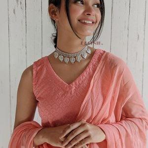 oxidised-silver-stylish-choker-necklace-earrings-set Lifestyle Image