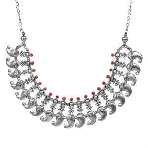 Oxidised Silver Stylish Minimal Choker Necklace Main Image