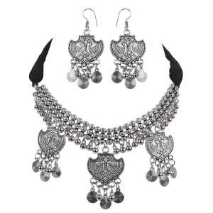 Oxidised Silver Tribal Boho Choker Necklace Earrings Set Main Image