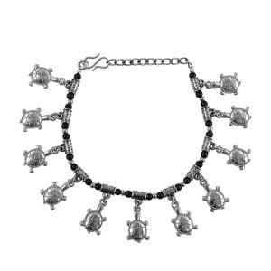 Oxidised Silver Turtle Motif Charms Bracelet Main Image