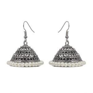 Oxidised Silver White Beads Jhumki Earrings Main Image