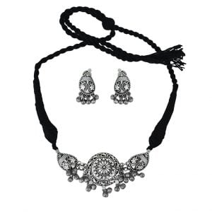 Silver Lookalike Brass Oxidised Choker Necklace Earrings Set – Arzoo Main Image