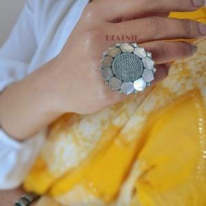 Silver Lookalike Brass Oxidised Kamalam Ring – Adjustable Lifestyle Image