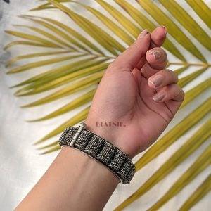 Silver Lookalike Brass Oxidised Statement Bangle – Adjustable Lifestyle Image