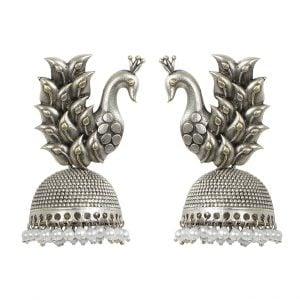 Silver Lookalike Oxidised Brass Peacock Jhumki Earrings Main Image