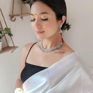 Silver Oxidised Choker Necklace Earrings Set Lifestyle Image