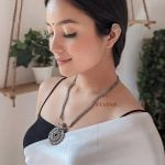 Silver Oxidised Plated Long Necklace Earrings Set