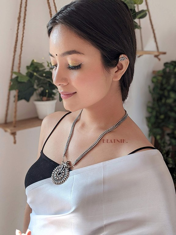 Silver Oxidised Plated Long Necklace Earrings Set Lifestyle Image