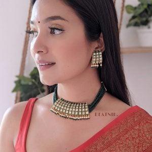 Traditional Kundan Meenakari Choker Necklace Earrings Set Lifestyle Image