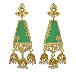 Traditional Kundan Royal Jhumki Hanging Earrings- Green Main Image