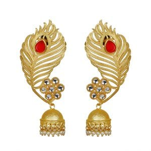 Gold Matte Feathered Red Stone Statement Jhumki Earrings Main Image