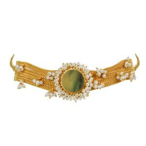 Private: Gold Matte Plated Classy Cocktail Druzy Stone Chain Choker Main Image