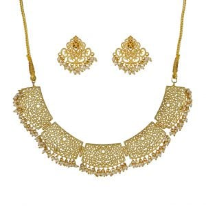 Gold Matte Plated Filigree Pearl Beads Choker Necklace Earrings Set Main Image