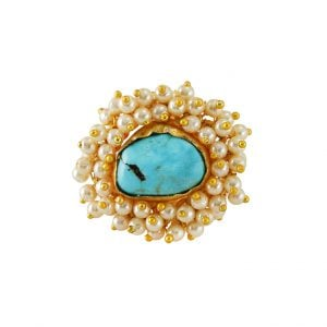 Gold Matte Turquoise Stone Statement Pearl Ring - Adjustable Main Image