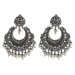 Kundan Studded Chandbali Black Metal Earrings Main Image