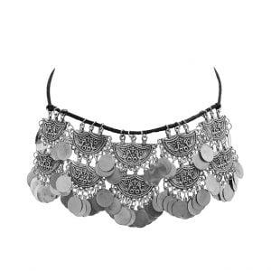Oxidised Silver Boho Afghani Choker Necklace Main Image