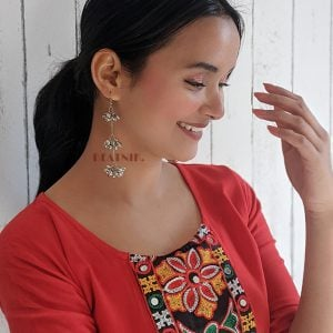 Oxidised Silver Lightweight Ghungroo Hanging Earrings Lifestyle Image