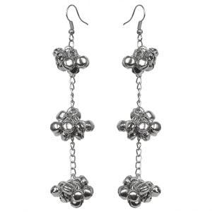 Oxidised Silver Lightweight Ghungroo Hanging Earrings Main Image