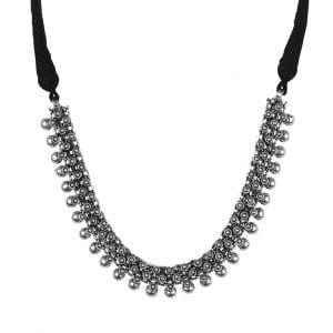 Oxidised Silver Lookalike Brass Sleek Choker Necklace Main Image